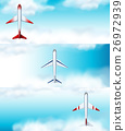 Three scenes of airplane flying at daytime 26972939