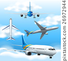 Many airplanes flying in the sky 26972944