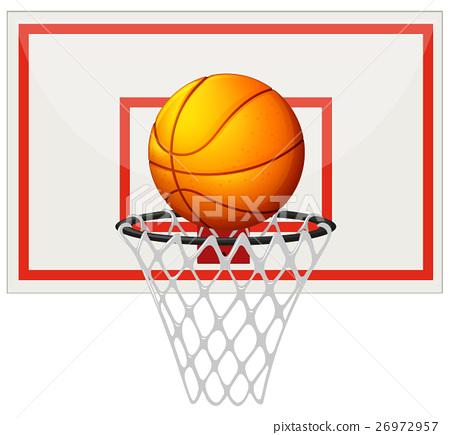 Basketball with basketball board and net 26972957