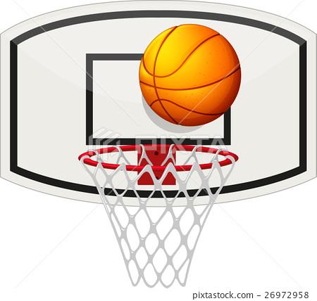 Basketball net and ball 26972958