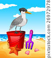 Seagull standing on red bucket 26972978