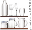 Glasses and bottles on wooden shelves 26972981