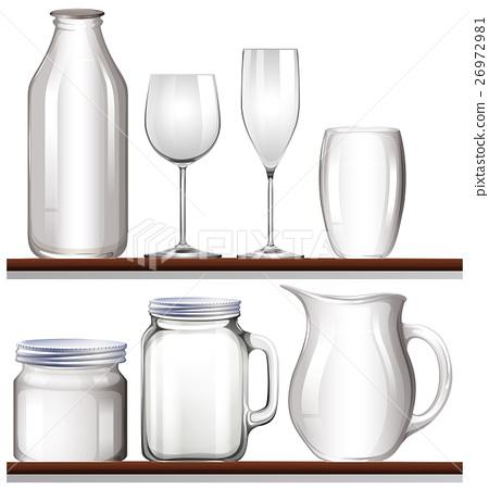 Glasses and bottles on wooden shelves 26972981
