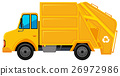 Rubbish truck in yellow color 26972986