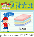 Flashcard letter T is for towel 26973042