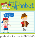 Flashcard letter T is for tie 26973045
