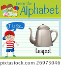 Flashcard letter T is for teapot 26973046
