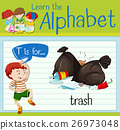 Flashcard letter T is for trash 26973048