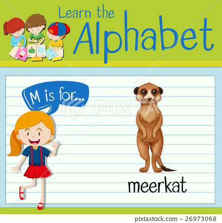 Flashcard letter M is for meerkat 26973068