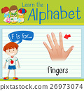 Flashcard letter F is for fingers 26973074
