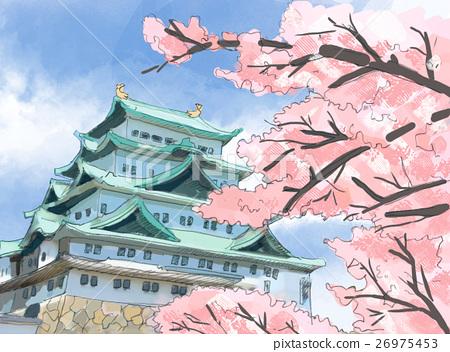 Nagoya Castle and Sakura 26975453