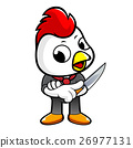 Chicken Character holding a knife. 26977131