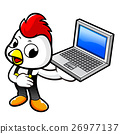 Chicken Character the holding a notebook computer. 26977137