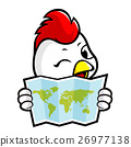 Chicken Character holding a Paper World Map 26977138