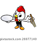 Chicken holding a chopsticks and soup bowl. 26977140