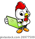 Chicken Character the holding a laptop. 26977509
