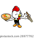 Chicken holding a chopsticks and soup bowl. 26977762