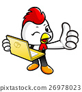 Chicken Character the guides and holding a laptop. 26978023