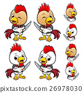 Chef Chicken Character is holding a Knife. 26978030