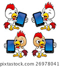 Chicken Character is holding a Smart Phone. 26978041