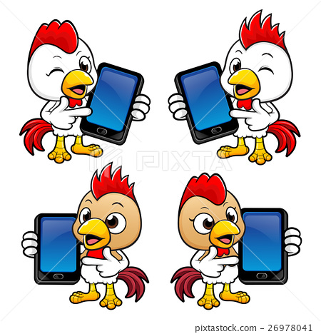 Chicken Character is holding a Smart Phone  - Stock Illustration