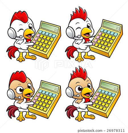 Chicken  is instructing holding a calculator. 26978311