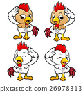 Chicken Character is to make a salute. 26978313