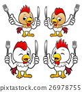 Chicken mascot hand is holding a Fork and Knife. 26978755