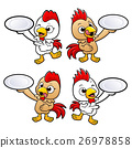 Chicken Character hand is holding a Plate. 26978858