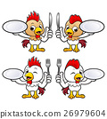 Chicken Character hand is holding a Fork and Plate 26979604