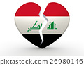 Broken white heart shape with Iraq flag 26980146