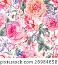 Watercolor spring seamless border with english 26984658