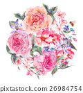 Watercolor spring bouquet with blooming cherry and 26984754