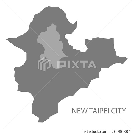 New Taipei City Taiwan Map grey 26986804