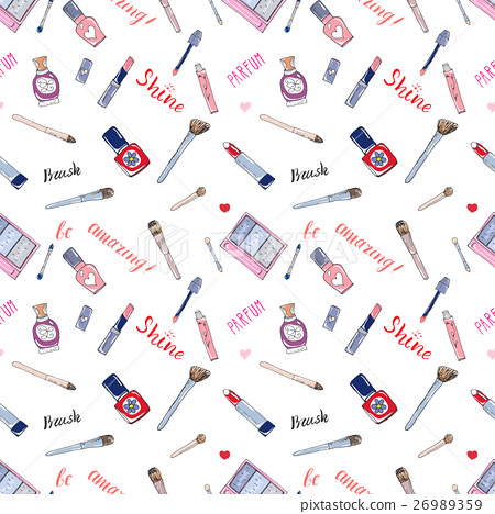 Make up cosmetic and beauty items seamless pattern 26989359