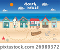 Beach huts and bungalows, hand drawn doodle set 26989372