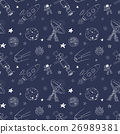 Space doodles seamless pattern. Hand drawn sketch 26989381