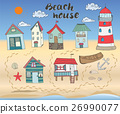 Beach huts and bungalows, hand drawn sketch set 26990077
