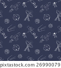 Space doodles seamless pattern. Hand drawn sketch 26990079