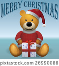 Teddy bear in red sweater red hat  26990088