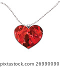 Valentines Day heart pendant isolated on white 26990090