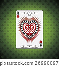 Ace hearts, poker cards green background 26990097
