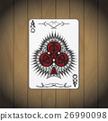 Ace of clubs poker card wood background 26990098