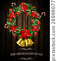 White card with Christmas wreath and bow 26996077