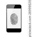 Mobile Smart Phone with Fingerprint of Thumb Isolated on White. 26999020