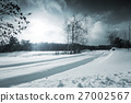 Winter Landscape. Street - Road Covered with Snow. 27002567