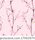 Pink blossom. Watercolor seamless floral pattern 4 27002674