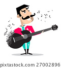 Guitar Player Singing Song Funky Mexican Guitarist 27002896