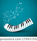 Flying Notes with Abstract Piano Keyboard.  27003150