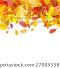 Autumn Falling Leaves on White Background Vector 27004338